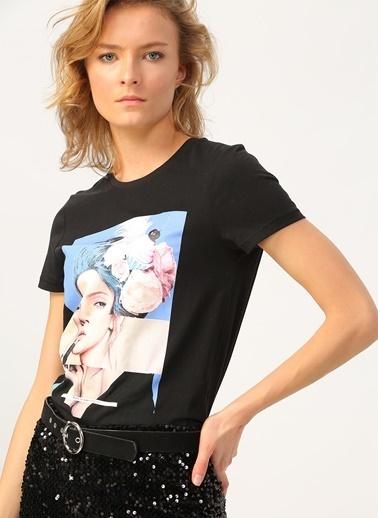 Only Only Baskılı Siyah T-Shirt Siyah
